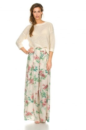 Kocca |  Floral trousers Trebig | natural