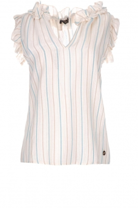 Fracomina |  Striped top with ruffles Butter | natural