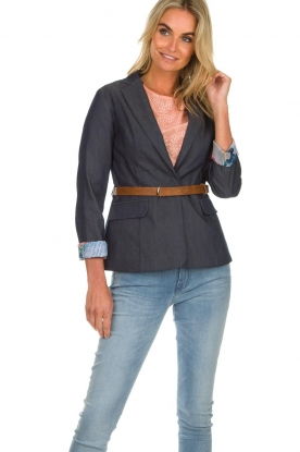 Fracomina |  Belted blazer Ella | denimblue