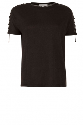 IRO | Linnen lace-up T-shirt Steiro | zwart