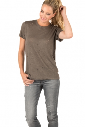 IRO | Linnen T-shirt Clay | grijs
