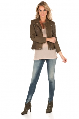 Leather biker jacket Han | green