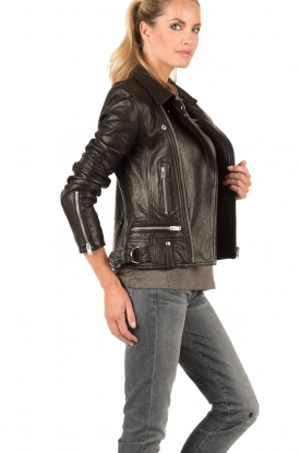 Leather biker jacket | black
