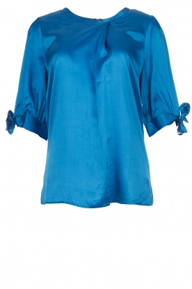 Dante 6 |  Satin top with bow cuffs Marble | blue