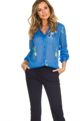 Dante 6 |  Blouse with floral print Bia | blue