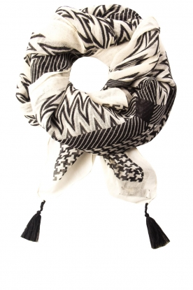 Dante 6 |  Printed scarf with tassels Dalma | black & white