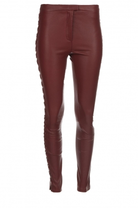 Dante 6 |  Leather pants with lace-up details Addict | bordeaux