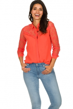 Aaiko |  Blouse with lace sleeves Cita | coral