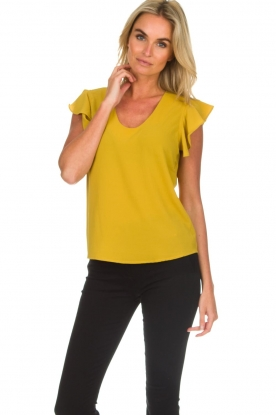 Aaiko |  Top with ruffle sleeves Deno | ochre yellow