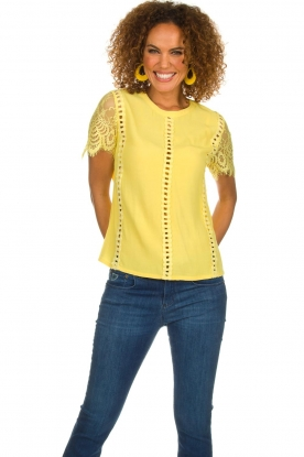 Aaiko |  Top with lace details | yellow