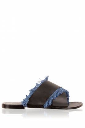 Antik Batik |  Leather flip-flops Alba | blue