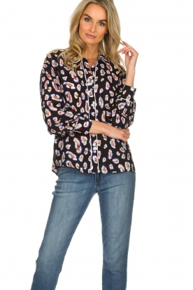 Aaiko |  Blouse with coloured panther print Amaia | multi