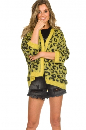 Aaiko |  Cardigan with leopard print | yellow