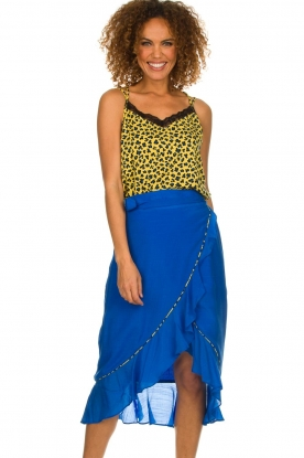 Aaiko |  Top with panther print and lace Vlint | yellow