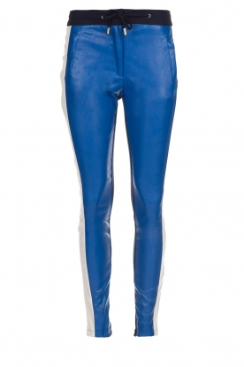 Aaiko |  Three-coloured pants with PU leather Sosa | blue