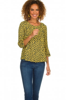 Aaiko |  Top with panther print Alta | yellow
