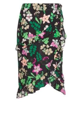 Aaiko |  Floral skirt with ruffles Coby | black
