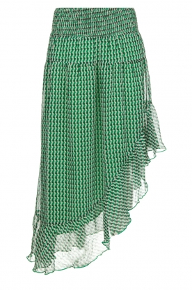 Aaiko |  Printed asymmetrical skirt Rolly | green