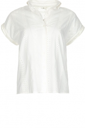 Knit-ted |  Top with embroidery Alice | broken white
