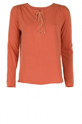 Leon & Harper | Lace-up top Manche | terracotta