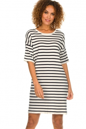Set |  Striped dress Juna | white
