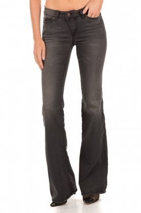 Hunkydory | Washed 5-pocket flared jeans Liv | zwart