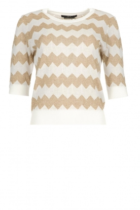 Set |  Zigzag print sweater Zinzi | white