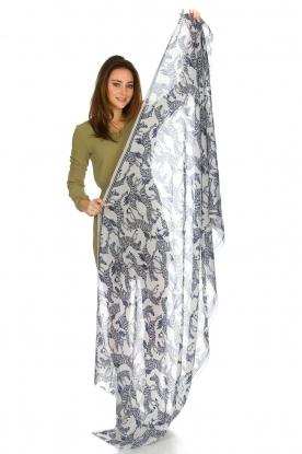 Becksöndergaard | Sjaal met zebra's | donkerblauw