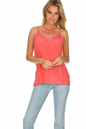 Set |  Silk sleeveless top with lace Mees | pink