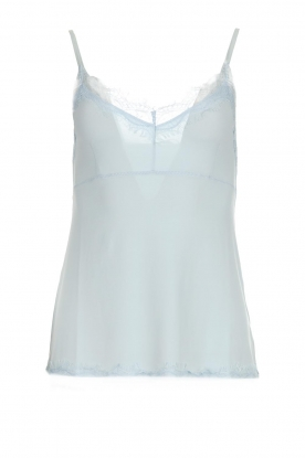 Set |  Silk sleeveless top with lace Mees | blue