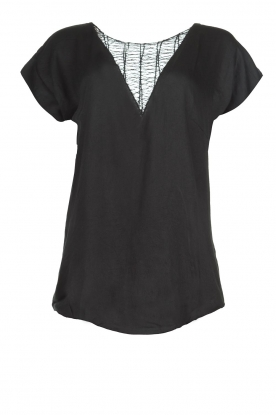Rabens Saloner |  Top with see-through V-neck Fia | black
