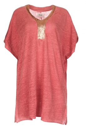 Not Shy |  Linen tunic dress Brune | red