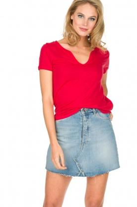Not Shy | Linnen t-shirt Marine | rood