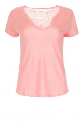 Not Shy |  Linen t-shirt Marine | pink
