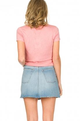 Not Shy | Linnen t-shirt Marine | roze