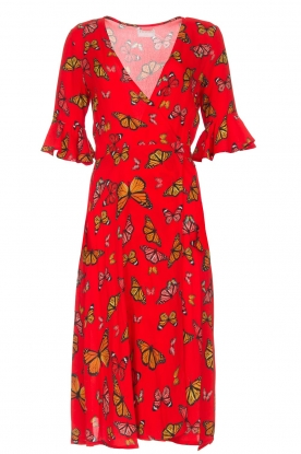 Freebird |  Printed wrap dress Butterfly | red