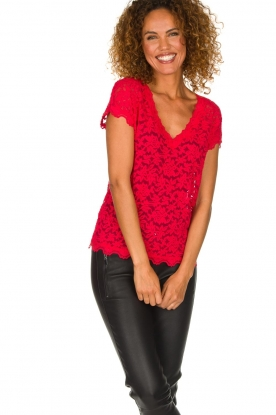 Rosemunde | Lace top Sarah | red
