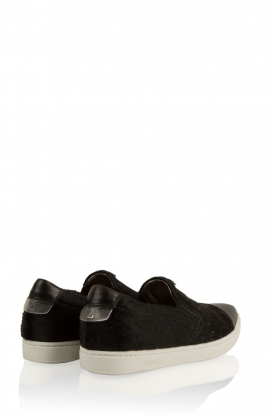 Leather slip-on Georgie | black glitter