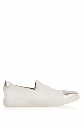 SVNTY | Leren slip-on Georgie | wit glitter