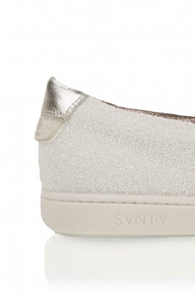 Leren slip-on Georgie | wit glitter