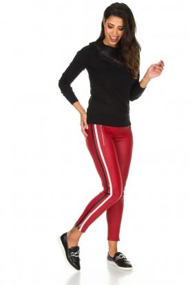 Arma | Lamsleren broek met zijstreep Lacay | Rood