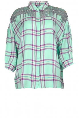 Essentiel Antwerp |  Blouse with checket pattern Scenery | green