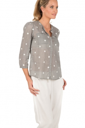 Manila Grace | Blouse Dot | grijs en wit