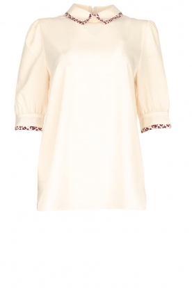 Essentiel Antwerp |  Blouse with leopard print collar Sherly | natural