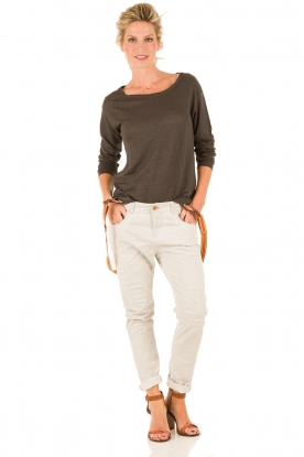 Manila Grace | Boyfriend jeans Kate cropped | grijs