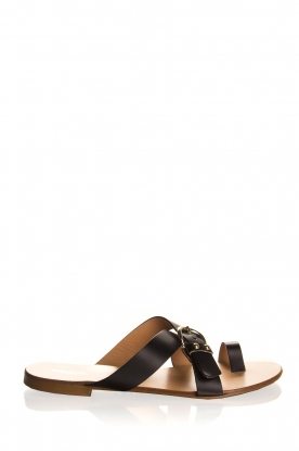 Essentiel Antwerp | Leather flip-flops Kirsty | black