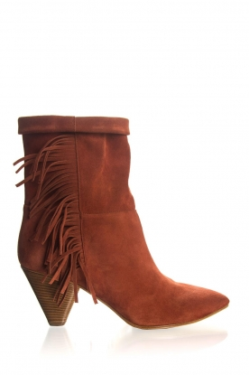 Janet & Janet |  Suede fringe boots Lizzy | red