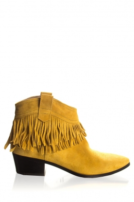 Janet & Janet | Suede fringe ankle boots Bella | yellow