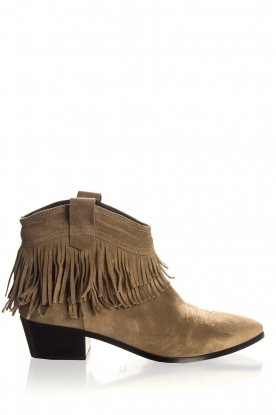 Janet & Janet | Suede fringe ankle boots Bella | taupe