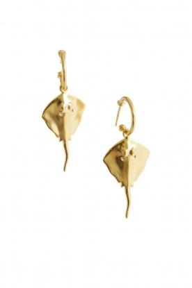 18k goud vergulde rog oorbellen Ray  goud
